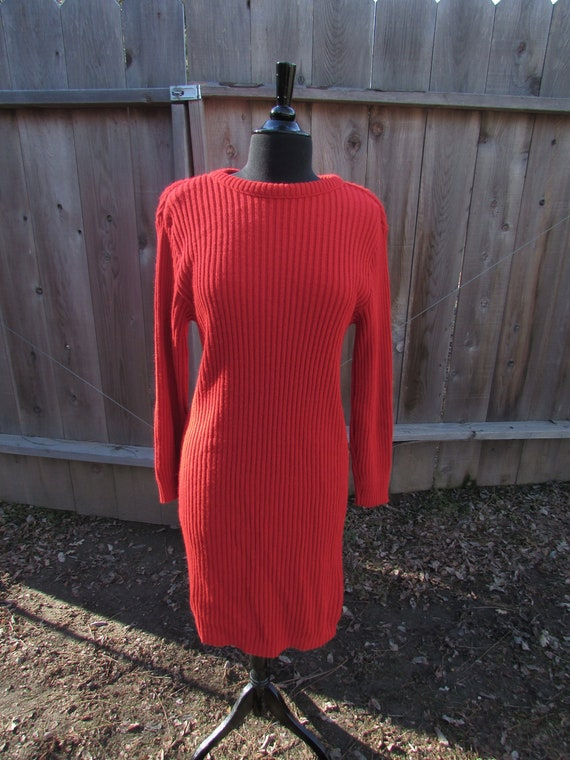 Simple Red Sweater Dress