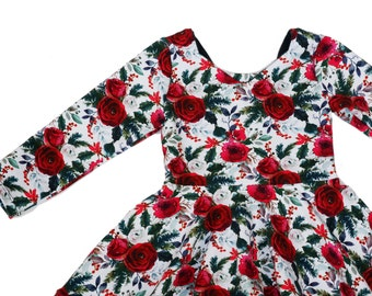 095076279d703 Elisabeth Dress in Holiday Fabrics, Christmas Floral Shown, 0-3M-4T