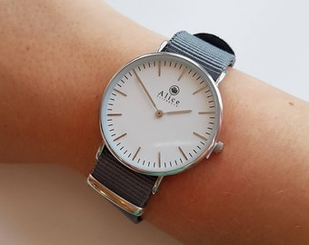 8acd6ac30572fe Ladies Watch Minimalist Watch Women Gift for her Jewelry Jewellery Womens  Watch Minimalist Grey Gray Nato Strap Alice Elizabeth UK