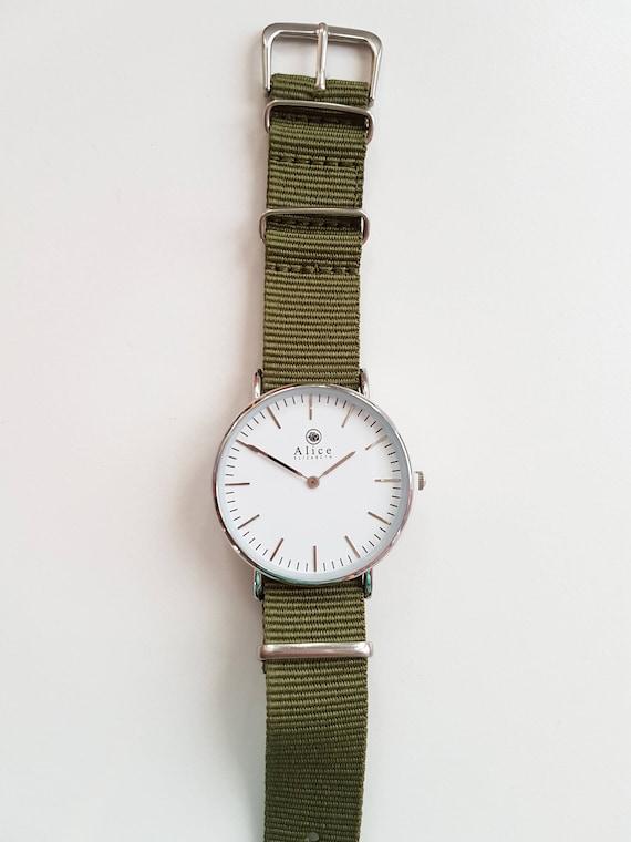 a863cdb4b915 Ladies Watch Gift for her Nylon Nato Strap Khaki Jewelry