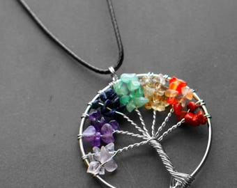 Tree of life necklace with chakra stones