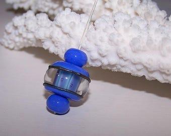 """1 Pearl """"Saturn"""" Lampwork Glass"""