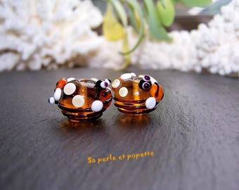 """Duo """"bees and honey"""" glass, perfect for Earrings"""