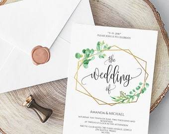 c95dbcfd4 greenery wedding Invitation card Calligraphy wedding invitation greenery  Printable Digital PDF Template greenery wedding invite frame