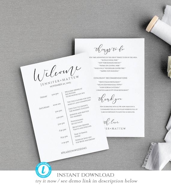 Printable Wedding Itinerary Template Wedding Weekend Itinerary Wedding Timeline Destination Wedding Itinerary Wedding Welcome Bags W 01