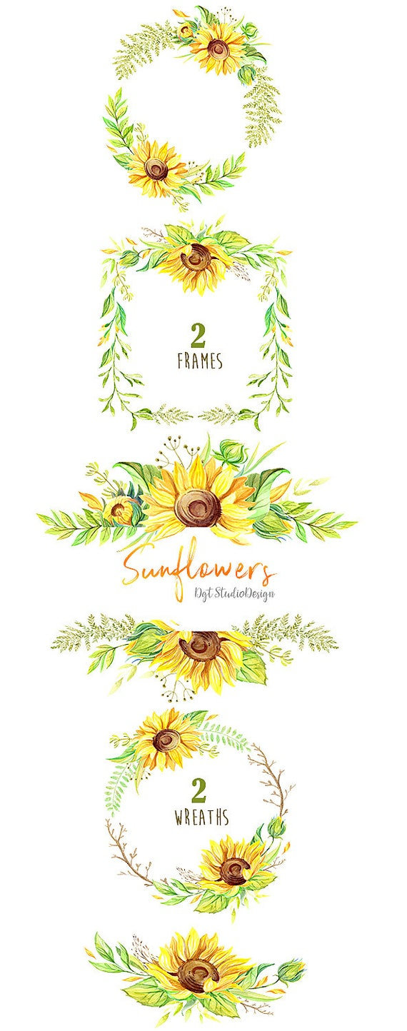 Watercolor sunflowers wreath frame clipart rustic summer   Etsy
