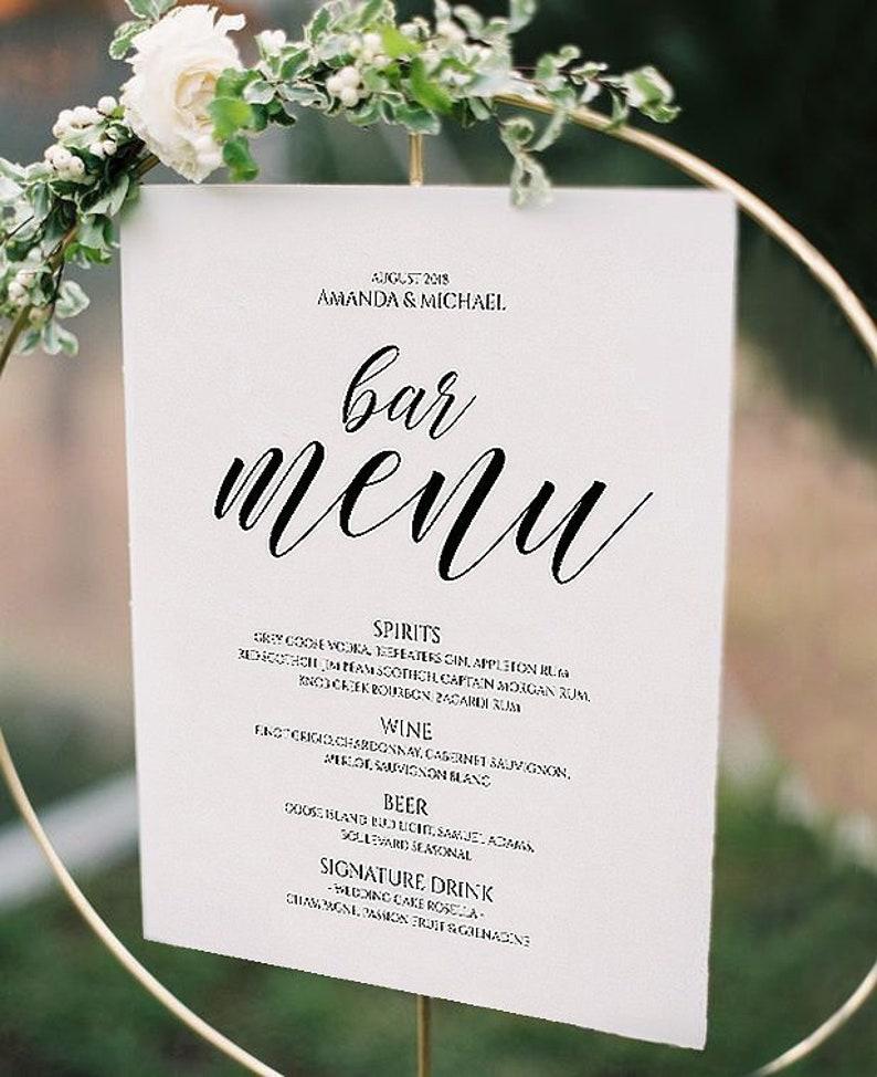 Wedding drink bar Sign template Wedding Bar Menu Printable Drink Menu Instant Download calligraphy Bar drink menu Sign