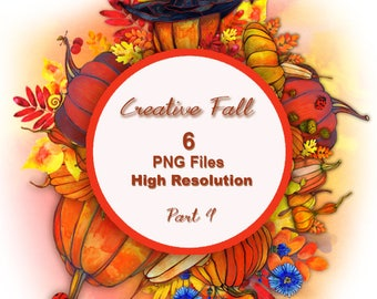 Handmade Raster Watercolor Autumn PNG Elements.  Part 4.
