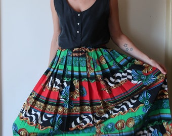 80s italian print pleated skirt