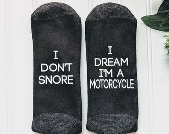 gifts for men,motorcycle gift, I don't snore I dream, gift for dad, tractor gift, men's gift, gift for husband, dad gift socks, men birthday