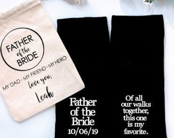 Father of the Bride Gift, personalized socks, of all our walks this is my fav, special socks for a special walk, brides father gift, father