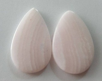 60% off Pink lace agate natural plain pear shape cabochon matching-pair-22mm x 35mm x 3mm - STK-86-PLAL-06