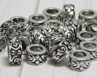 5x8mm - Large Hole Beads - Tibetan Silver Beads - Silver Spacers - Large Hole Spacers - Antique Silver - Metal Spacers - 20pcs - (716)