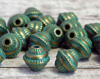 Metal Beads - Patina Beads - Bronze Beads - Spacer Beads - Metal Spacers - 8x7mm - 20pcs - (4988)