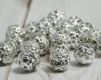 Rhinestone Beads - Rhinestone Spacers - Rhinestone Round - 8mm - Filigree Beads - Silver Filigree - Silver Beads - 20pcs - (2521)