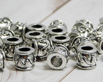15pcs - 8x9mm - Large Hole Beads - Silver Beads - Silver Spacers - Antique Silver - Metal Spacers - Metal Beads - Barrel Beads - (B704)