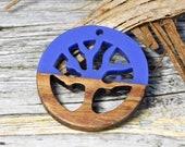 Tree of Life Pendant - Boho Pendant - Wood Pendant - Resin Pendant - Wood Resin Pendant - Jewelry Pendant - 28mm - (A206)