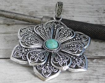 Metal pendant etsy filigree pendant bohemian pendant flower pendant silver pendants large pendants metal pendant 2434 aloadofball Images