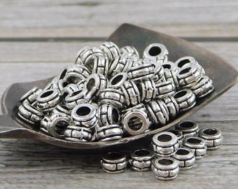 4 Sterling Silver Barrel Beads,4mm Large Hole,Silver Tube Beads,Silver Spacer Beads,Silver Beads Spacers