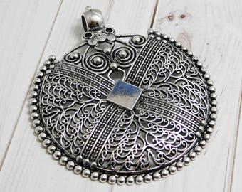 Bohemian pendant etsy filigree pendant bohemian pendant medallion pendant silver pendants large pendants metal pendant 2077 aloadofball Choice Image