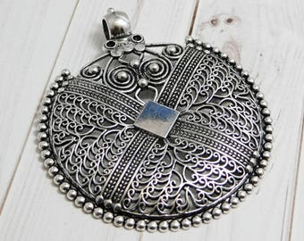 Large pendant etsy filigree pendant bohemian pendant medallion pendant silver pendants large pendants metal pendant 2077 aloadofball Choice Image
