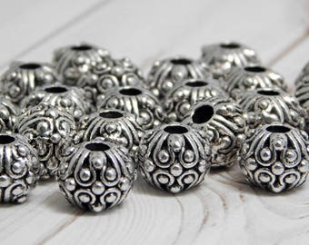 11x8mm - Metal Beads - Silver Beads - Antique Silver - Large Hole Spacers - Spacer Beads - Rondelle Spacers - 10pcs - (5429)