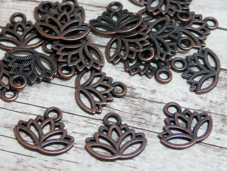 Lotus Charm Lotus Flower Charm Metal Charms Copper Etsy