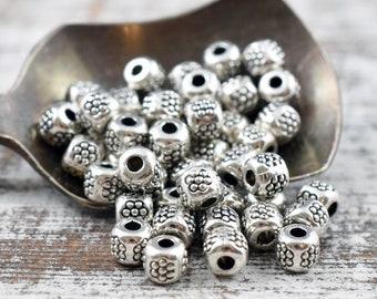 4mm Spacers - Metal Beads - Spacer Beads - Metal Spacer Bead - Silver Spacers - Antique Silver Beads - 100pcs - (B17)