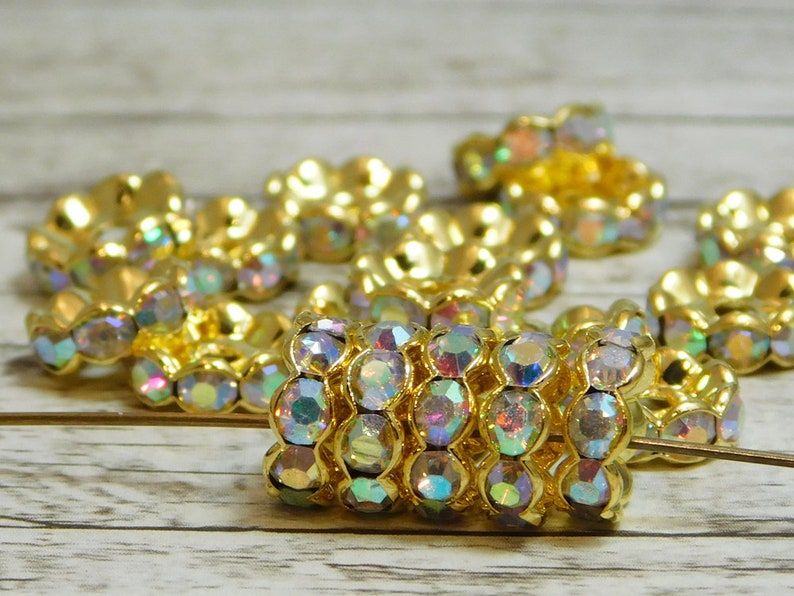 Choose YOur Own Size Gold Spacer Bead Rhinestone Spacer Beads Rhinestone Beads Crystal AB Crystal Spacers