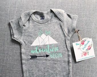 Let the Adventure Begin Onesie®   Adventure Onesie®   Baby Boy Onesie®   Baby Girl Onesie®   Infant Clothes   Bodysuit   Baby Shower Gift