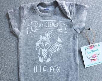Stay Clever Little Fox Onesie® | Woodland Onesie® | Baby Clothing | Baby Boy Onesie® | Baby Girl Onesie® | Custom Baby Onesie® | Bodysuit