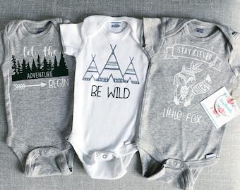 ad1901a2f Woodland Onesies® | Stay Clever Little Fox Onesie® Set | Be Wild Onesie® | Baby  Boy Onesie® | Baby Girl Onesie® | Custom Baby Onesie®