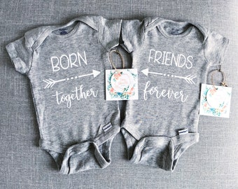 Born Together Friends Forever Onesies® | Twin Onesies® | Baby Onesie® | Twins | Twin Outfits | Baby Girl Onesie® | Baby Boy Onesie®