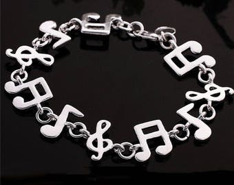 Fashion Jewellery Charms Silver Bracelet Notes Music People Women and Girl Men And Boy