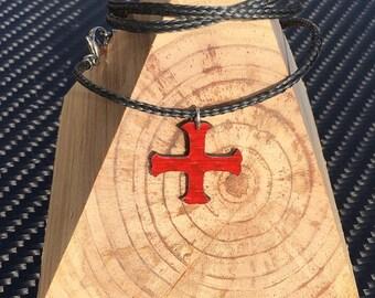 Templar Cross on Carbon Fiber + Kevlar Collier Necklace