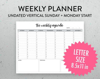 Undated Weekly Planner Printable Page, Vertical Layout, PDF, Sunday Monday Start, Timed Planner, Weekly Schedule, Weekly Agenda,