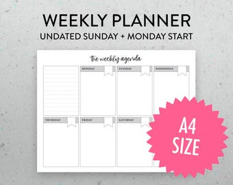 A4 Undated Weekly Planner Printable Page, PDF, Sunday Monday Start, Weekly Schedule, Weekly Agenda,