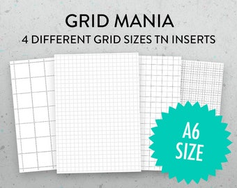 A6 Grid Insert, Bullet Journal Pages, Printable Graph Paper, PDFs, Booklet, Micro Grid, Jumbo Grid