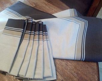 Vintage Cacharel Linen Tablecloth & 6 Napkins