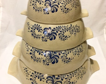 Pyrex Homestead Mixing Bowl Set, Cinderella Nesting Bowls, Vintage Pyrex Glass Mixing Bowls with Tab Handles