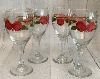 Wine Glasses Franciscan Apple Goblets   Vintage Wine Glasses Set Of 4 Hand Painted Apple Print Goblets Vintage