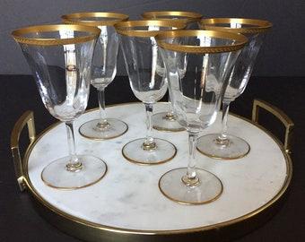 05c6e941e6d3 Crystal Wine Glasses Gold Trim