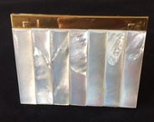 Vintage Gold Compact Volupte Gold Makeup Compact Lipstick Holder Powder Puff Mother of Pearl Compact