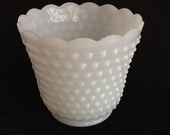 Hobnail Milk Glass Planter, Vintage Fire King Glass Planter, Indoor Planter, Succulent Planter