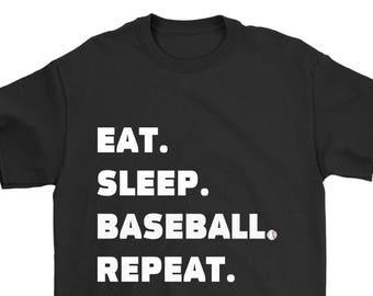 Eat Sleep Baseball Repeat T Shirt, Baseball player T Shirt, Baseball Lover T Shirt, Gift for Baseball Fans, Baseball Shirt, Funny T Shirt