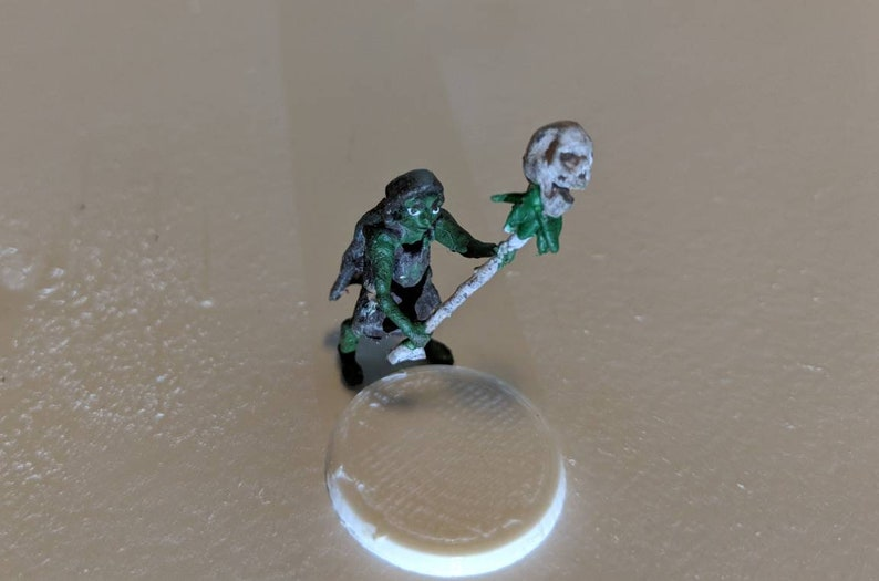 Goblin Shaman Miniature, Single SLA printed Resin figure, and white base,  28mm scale, unpainted
