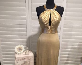 Gold Sequined Neck and Waist Long Gown Sz 4
