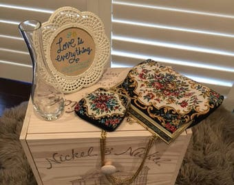 Vintage Embroidered Handbag and Coin purse