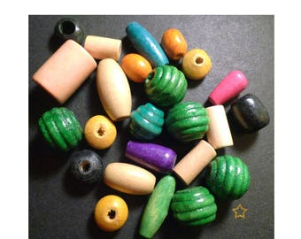 Wooden beads of various shapes and different colors