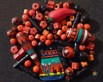 Peruvian clay and various shapes glass beads